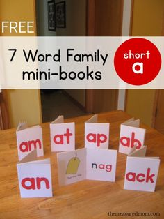 "Teach your child to read short vowel words with these free books! Get seven books for the short a word families. Great for kids just starting to ""sound it out""!"