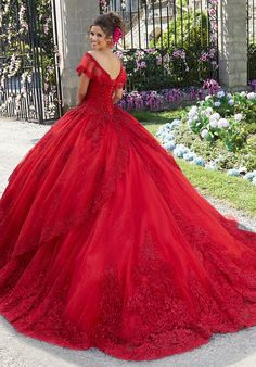 Get the beautiful Princess Tulle and Glitter Tulle Quinceañera Dress by Morilee 34025 and other amazing Morilee quinceanera dresses on Mi Padrino. Red Ball Gowns, Tulle Ball Gown, Ball Gown Dresses, 15 Dresses, Formal Dresses, Red Wedding Gowns, Mori Lee Dresses, Pretty Quinceanera Dresses, Quince Dresses