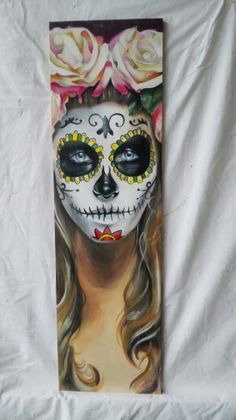 Sugarskull Handgeschilderd op mdf 80x23 cm €103,-
