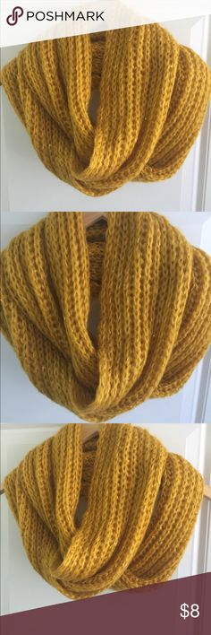 Infinity yellow mustard scarves Soft and nice comfy Infinity scarf, is very good condition Has some shine metallic included in gold is Acrylic material, easy to watch in machine and tumble dry.  Ready for send Accessories Scarves & Wraps