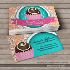 Chic and Elegant Cake Bites Business Cards. You can customize this card with your own text, logo, photo, or use this pre-existing template for FREE. Elegant Business Cards, Custom Business Cards, Free Business Cards, Business Card Design, Creative Business, Bakery Business Cards, Cake Business, Cake Templates, Templates Free