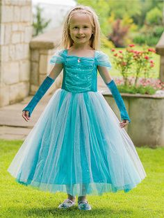Türkis glitzernde Prinzessin - Kinderkostüm | Party City