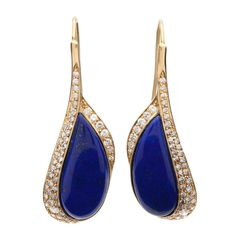 Lapis Diamond Earrings | From a unique collection of vintage drop earrings at http://www.1stdibs.com/jewelry/earrings/drop-earrings/