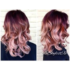 "27 Rose Gold Hair Color Ideas That Make You Say ""Wow!"", Rose Gold Hair Color Gold Pink Hair Colors Fashion for certain colors and shades can walk in a circle for several years or regularly come back into us. Auburn Balayage, Balayage Hair, Bayalage, Hair Color And Cut, Ombre Hair Color, Blonde Ombre, Rose Hair Color, Cabelo Rose Gold, Rose Gold Ombre"