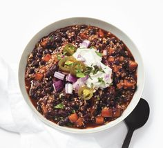 Black Bean Chili with Butternut Squash Recipe  at Epicurious.com (To make GF, replace Bulgar with Quinoa?)
