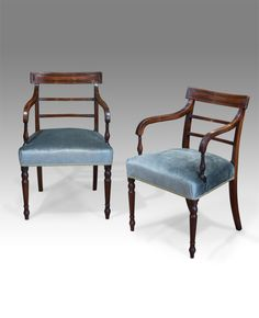 Pair of attractive Regency mahogany open arm chairs