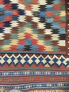Antique Qashqai Kilim with so-called eye dazzler by MenloOaks