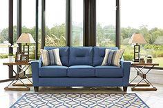 Forsan Nuvella Contemporary Blue Color Fabric Sofa