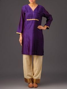 Purple Tissue Detail Yoke Box Pleating Chanderi Kurta Box Pleats, Indian Fashion, Kurti, Detail, Purple, Tees, Stuff To Buy, T Shirts, India Fashion