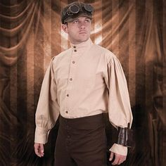 "This engineer shirt is the perfect for your Steampunk ensemble.  This soft, cotton blend shirt sports puffy sleeves with finely detailed wood & brass buttons.  <a href=""http://store.pearsonsrenaissanceshoppe.com/sizechartmr.html"">Size Chart</a>"