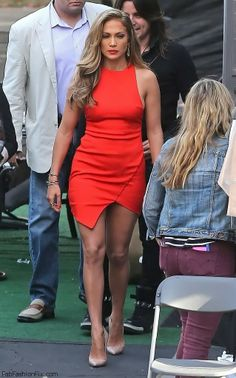 Jennifer Lopez in Bec & Bridge dress while arriving to American Idol Season 13 Event