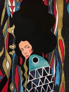 Moment Two Canvas Wall Art by Hülya Özdemir Illustrations, Illustration Art, Instalation Art, Art Watercolor, Art Mural, Grafik Design, Portrait Art, Portraits, Woman Portrait