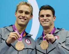 Kristian Ipsen, left, and Troy Dumais, win BRONZE in men's synchronized 3-meter springboard diving. #GoTeamUSA #USADiving #LondonOlympics