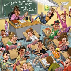 Tom Richmond: School's Out! Tom Richmond's out-of-control classroom scene appearing on a Marlin Workplace Poster reminds us that summer is just around the corner. Teaching English Grammar, Picture Composition, Family Illustration, Illustration Art, Picture Writing Prompts, Last Day Of School, Teachers' Day, Kids Education, Education Quotes