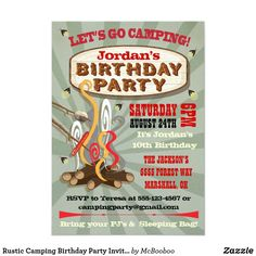 Rustic Camping Birthday Party Invitations Camping Party Invitations, Rustic Invitations, Birthday Party Invitations, Invitation Ideas, Invite, Outdoor Birthday, The Jacksons, Camping Parties, 10th Birthday
