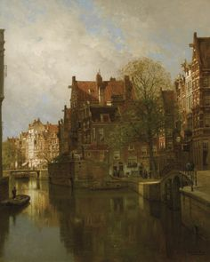 """""""🎨 A View of Grimburgwal, Amsterdam, s. 👨🎨 Johannes Christiaan Karel Klinkenberg – was a Dutch painter. 🌍 Beauty in Art 🎨"""" Beauty In Art, Dutch Painters, Great Paintings, Photos, Pictures, Holland, Oil On Canvas, Places To Visit"""