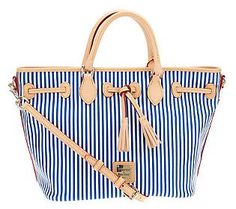 The perfect shopper for browsing the stores in Southampton & beyond! {Dooney & Bourke Stripes East/West Tassel Shopper}