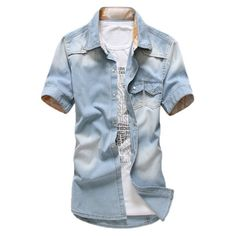 Cheap men jeans shirt, Buy Quality male denim shirt directly from China short sleeve shirt Suppliers: Plus Size 2017 Brand Men Jeans Shirt Cotton Short Sleeve Shirts Cowboy Camisas Men's s Patchwork Chemise Homme male denim shirt Short Sleeve Denim Shirt, Denim Shirt Men, Casual Jeans, Casual Shirts For Men, Men Casual, Formal Shirts, Casual Outfits, Men's Fashion, Jeans For Sale