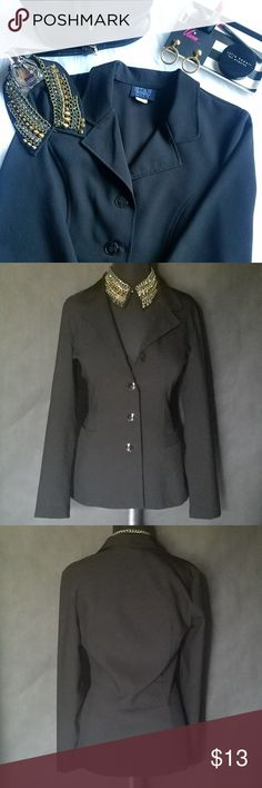 """Juniors' Four-Button Blazer This four-button blazer is the jacket your closet has been missing! Looks just as smart with jeans as it does with trousers. Features long sleeves, a classic notched collar and front faux pockets. Measures 26"""" from top to hem, 18"""" from armpit to pit, 23"""" sleeve from shoulder. In great condition. No tears, stains, or loose threads. 100% Polyester. Size M. True to size. No trades or PayPal. Star City Jackets & Coats Blazers"""
