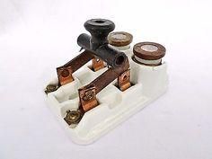Antique Vintage Porcelain Ceramic Double Fuse Knife Switch Block!