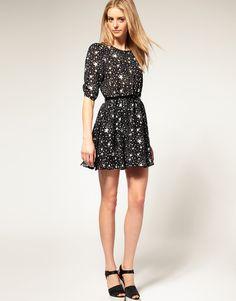 style, print dress, star print, dress fashion, belt, little black dresses, shimmer star, longer sleev, sleeves