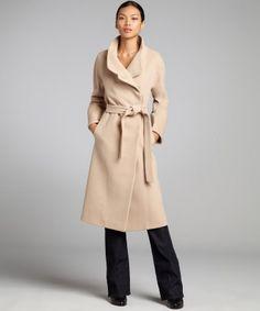 Cinzia Rocca : light camel wool-cashmere blend belted full length coat