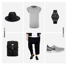 Lässige Kombination aus tief sitzender Hose und T-Shirt mit gekrempelten Raglanärmel. Hier entdecken und shoppen: http://sturbock.me/f2Z