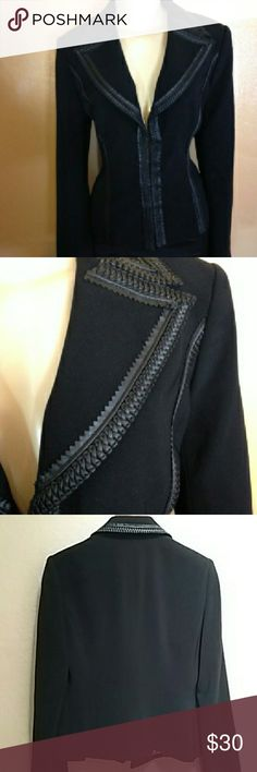 Cache black blazer with faux leather trim Formal blazer with braided faux leather trim. With hot pink lining and four hooks for closure. Front trim accentuates any the waist. Cache Jackets & Coats Blazers