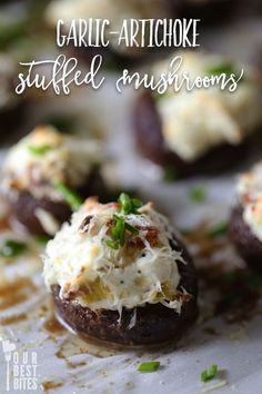 Garlic-Artichoke Stuffed Mushrooms--an easy, elegant, low-carb appetizer that will be gone in SECONDS!