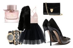 #blacknpink#nightout by efsi on Polyvore featuring polyvore fashion style Chicwish Aspinal of London Jessica Carlyle Burberry clothing