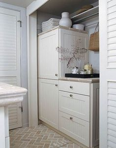 Small Bathroom Closet Laundry from Better Homes and Gardens- maybe Hubbs can build me something like this to hide my hot-water heater Kids Closet Storage, Bathroom Closet Organization, Organization Ideas, Small Closets, Small Rooms, Small Spaces, Small Bathrooms, Laundry Closet, Laundry In Bathroom
