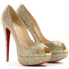 Christian Louboutin Lady 150 Glitter Peep-Toe Sandals ❤ liked on Polyvore