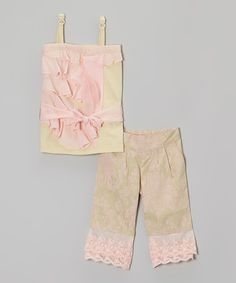 Look what I found on #zulily! Green & Pink Ruffle Tank & Capri Pants - Girls by Trish Scully Child #zulilyfinds