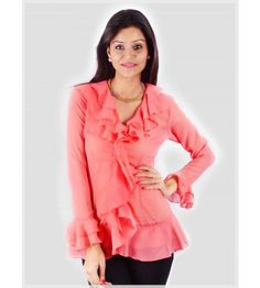 Wear the peach ruffle top to a formal gathering or an important meeting. Uptown  Galeria · Women Tops a9e029e84