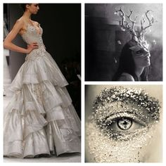 Whimsical silver masquerade ball outfit