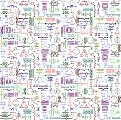 Electrical_Symbols_Colour fabric by jabiroo on Spoonflower - custom fabric