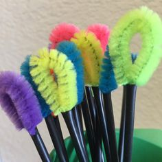 Pipe cleaner sections tucked into coffee stirring straws are great for cleaning the fuzz from your sewing machine.