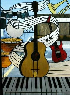 Faux Stained Glass, Stained Glass Designs, Stained Glass Projects, Stained Glass Patterns, Music Painting, Music Artwork, Art Music, L'art Du Vitrail, Piano Art