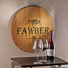 Authentic Barrel Head Wall Plaque with Personalized Wine Theme at Wine Enthusiast - $129.95