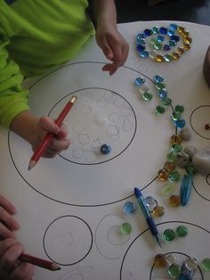 This kiddo got very busy tracing individual stones within the circles…