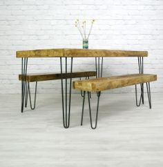 HAIRPIN LEGS VINTAGE INDUSTRIAL RUSTIC MID CENTURY FARM DINING TABLE 50s 60s