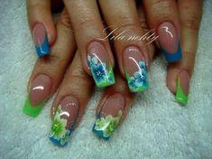 Cute Acrylic Nail Designs, Colorful Nail Designs, Gel Nail Designs, Gel Acrylic Nails, Gel Nails, One Stroke Nails, Sculptured Nails, Exotic Nails, Nails First