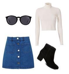 """""""A-line skirt Outfit"""" by jahrnova on Polyvore featuring Miss Selfridge, A.L.C., Steve Madden and Yves Saint Laurent"""