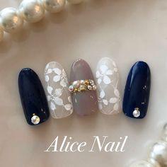Flower Nail Designs, Cute Nail Art Designs, Nail Polish Designs, Lace Nails, Sparkly Nails, Nail Mania, Kawaii Nails, Japanese Nail Art, Luxury Nails