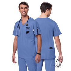 This V-neck Koi Coby top in True Ceil is super practical with 6 pockets for all your belongings and comfortable. £27.50.   #medicalscrubs #nursescrubs #dentistscrubs #nurses #dentists #bluescrubs #nurseuniform #malenurseuniform #malenurse