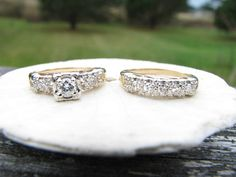 Beautiful 1940's Diamond Wedding Set  Original by Franziska, $825.00
