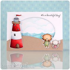 """handgemachte Urlaubskarte, Sommerkarte - handmade summer card, vacation card - Purple Onion Designs """"Lighthouse"""", """"Sandy"""", Shelly"""", """"Sweet Summer Sentiment Set"""", Lil'Inker Designs """"Stitched Ovals"""", My Favorite Things """"Ocean Waves"""", Lawn Fawn """"Stitched Hillside Borders"""", """"Puffy Cloud Borders"""", Copics, Distress Inks, Distress Oxide Inks"""