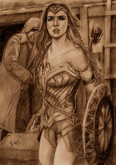 Gal Gadot in 'Wonder Woman'. Freehand sketch using HB pencil and eraser. Darkened and tinted digitally.
