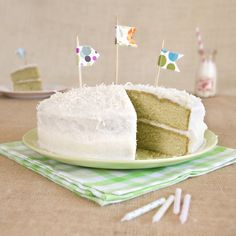 Matcha vanilla bean cake with coconut buttercream icing-I think this may be my birthday cake!