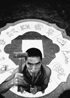 Eikoh Hosoe's portrait of Yukio Mishima - 1963. That pretty much sums up the man - struggling with the past and the present, traditions adopted and foisted upon him, reality and fiction. Very cool.
